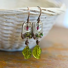 Upcycled Recycled Leaf - Copper and Soda Can Tab, wire, Earrings