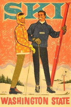 Ski Washington State, 1950s - original vintage poster by Willi Allen listed on AntikBar.co.uk