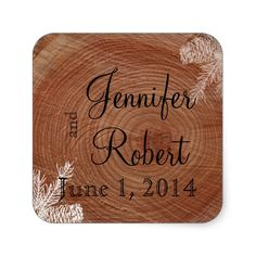 Tree Rings Rustic Country Wedding Envelope Seal Square Sticker