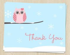 Hiver Owl Baby Shower, anniversaire cartes de remerciement, filles, rose, flocons de neige, la valeur des Notes de pliage de 24, hiver gratuit de navire, WIHGL, est une fille Hoot