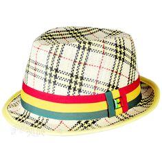 Rasta Plaid Fedora @ RastaEmpire.com Rasta Colors, Rude Boy, Red Plaid, Badge, Yellow, Metal, Hats, Green, Black