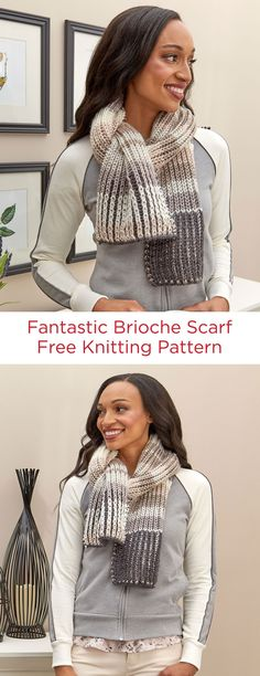 Fantastic Brioche Scarf Free Knitting Pattern in Red Heart Soft Essentials yarn