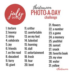 Join Us For A Fun Instagram Challenge...Our July Photo Of The Day Challenge! We Share A Unique Photo Prompt For Every Day Of The Month, (A 365 Day Photo Challenge) And You Share A Photo A Day For Each Prompt! #photoaday #photochallenge #365daychallenge #photoprompt #picturechallenge #instagramchallenge #creativephotos #photography #pictureaday