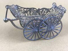 Miniature Dollhouse Antique Soft Metal German Baby Pram Stroller Wheels Move #Unknown