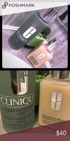 Clinique Mild Soap and Dramatically Different M... Both New Unused. Clinique liquid facial soap mild 6.7 fl oz with pump. Clinique dramatically different moisturizing lotion 4.2 fl oz with pump. Theses are step 1 and step three of the Clinique 3 step routine. Clinique Makeup