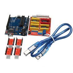CNC Shield V3 + UNO R3 Board + 4*A4988 Driver + USB Cable 3D Printer Kit For Arduino