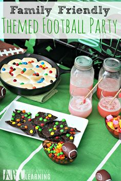 Family Friendly Themed Football Party for the Big Game! Cheer for your favorite team with these fun and yummy sweet treats! Plus, an easy game for the kids and a fun photo booth! - abccreativelearning.com