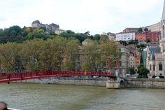 Pedestrian bridge spanning the Saone river, Lyon
