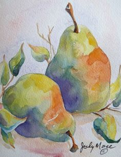 Original pears greeting card watercolor by DakotaPrairieStudio