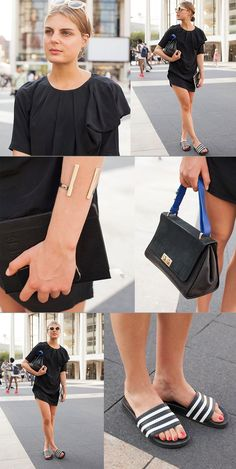 We spotted Claire Beermann in New York with an & Other Stories handbag in one hand and her trusty Vogue notebook in the other. The German C'est Clairette blogger still managed to look so cool and effortless on this hot summer day. In her usual contradictory way, she paired a little black pleated dress with classic Adidas slides. To finish off her look she added her signature Arabic nameplate necklace, playful round sunglasses from Ace & Tate, and a dreamy expression as thoughtful as her…