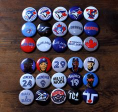 "Toronto Blue Jays Buttons - 30 x 1"" Pins By buttonmachine http://buttonmachine.com/"