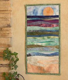 Hand painted fabric art quilt   Ocean waves by ArtQuiltsbyGretchen, $125.00