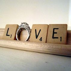 LOVE!! Vintage Scrabble tiles for that must have wedding photo!