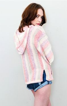 Sunset Stripe Hooded Poncho - Planet Blue