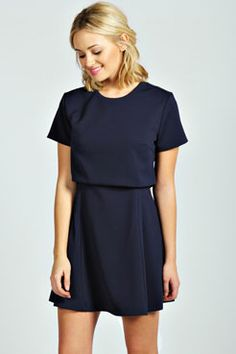 Holly Layer Detail Pleat Flared Dress