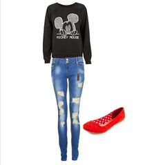 Mickey Mouse sweater, ripped jeans and red flats