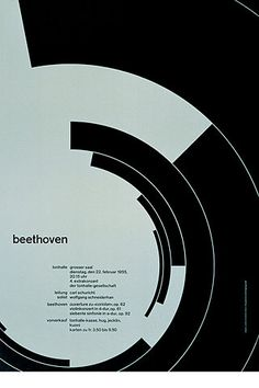 Beethoven poster design by Josef Müller–Brockmann, 1955 Bts Design Graphique, Art Graphique, Bauhaus, Joseph Muller, Armin Hofmann, International Typographic Style, Designers Gráficos, Graphic Designers, Swiss Design