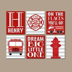 Fire Truck Wall Art Decor Canvas Or Prints Fireman Birthday Boy Bedroom Nursery Set Of 6 Pictures