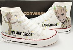 GROOT – Guardians of Galaxy Hand Painted flat Men Women Converse Sneakers painting canvas shoes high top fashion present for couples – top. Cool Converse, Painted Converse, Painted Sneakers, Custom Converse, Hand Painted Shoes, Converse Sneakers, Custom Shoes, Galaxy Converse, Marvel Shoes
