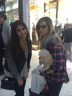 Ashley Tisdale with her dog, Maui! Husband Christopher French and fan in LA.