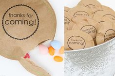 Candy bag party favors via lilblueboo.com use scrapbook paper for added color/fun!