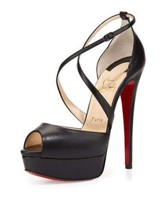 Cross Me Platform Red Sole Sandal, Black by Christian Louboutin at Neiman Marcus.