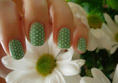 Light green with white dots. Cute :)
