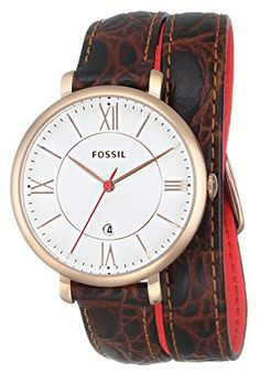 Women's Wrist Watches - Fossil Womens ES3613 Jacqueline ThreeHand Date Watch with Brown CrocoEmbossed Leather Band * You can get more details by clicking on the image.