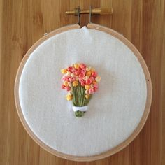 "French Knot Flower Bouquet - 3"" Embroidery Hoop Art"