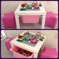 Love this for lil miss P!!!  This would be great to store crayons, coloring books, chalk, etc.... and if I make the table little bigger, I could paint a chalkboard on a portion of the table!!