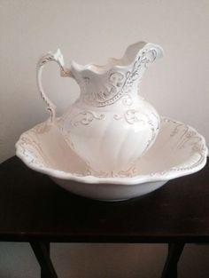 pitcher and basin set | ... or lilac porcelain pitcher and wash basin bowl set - Gold-trim