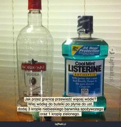 Do you want to sneak alcohol and drink it into residence? Add some food coloring to vodka and place them into a bottle of Listerine All Colleges, Lincoln Logs, Cool Dorm Rooms, Blue Food Coloring, 10 Essentials, Listerine, Useful Life Hacks, College Students, Spray Bottle
