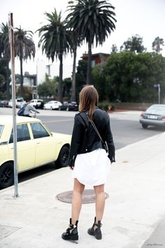 LET'S TALK ABOUT DRESSES (INSPIRATION) - justlikesushi.com / afterdrk / white shirt dress / acne leather jacket / LA / streetstyle / style / tomboy