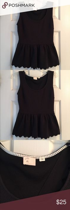 Anthropologie black peplum top S scalloped edges Beautiful, excellent condition top! No flaws. Scalloped edges with open back. No holes, or stains. Smoke free home! Anthropologie Tops