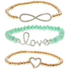 rue21 INFINITY LOVE HEART ❤ liked on Polyvore featuring jewelry, bracelets, infinity heart jewelry, infinity jewelry, heart shaped jewelry, heart jewellery and heart jewelry