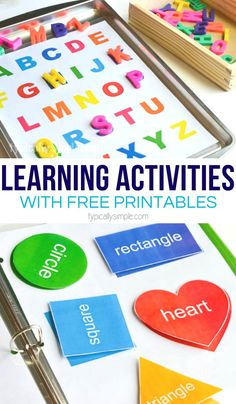 Create a preschool learning activities binder with these free printables that are perfect for practicing uppercase letters and basic shapes. AD #printables #preschoolactivities #learningactivities #kidspiration