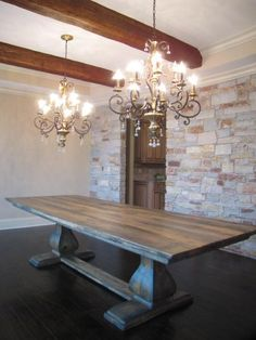 Farmhouse table plans & ideas find and save about dining room tables . See more ideas about Farmhouse kitchen plans, farmhouse table and DIY dining table Farmhouse Dining Room Table, Dinning Room Tables, Dining Room Design, Rustic Farmhouse, Farm Tables, Long Dinning Table, Dinning Room Chandelier, Trestle Tables, Kitchen Banquette