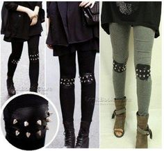 East Knitting FH 021 2012 women punk knee rivet studs spike faux leather patch leggings legwear tights free shipping wholesale-in Pants & Capris from Apparel & Accessories on Aliexpress.com