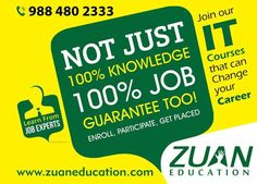 Get 100% Assured placements in #IT field!! Join any IT course in @ZuanEducation & change your career path!! #itjobs