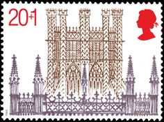 David Gentleman : Octagon Tower stamp from Christmas. Anniversary of Ely Cathedral issue, February 1982 Postage Stamps Uk, Uk Stamps, Ely Cathedral, Commemorative Stamps, Design Graphique, Illustrations, Mail Art, Stamp Collecting, Graphic Design Illustration