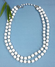 Vintage 2 Strand Beaded Necklace White Lucite Beads ~ Hong Kong ~ Holiday Gift  #Beaded2Strand