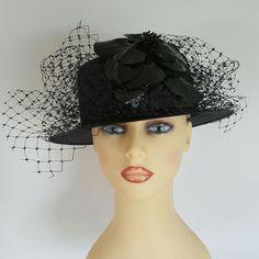 Ladies Wedding Hat Races Mother Bride Ascot Hat Black Netting Shiny Flowers