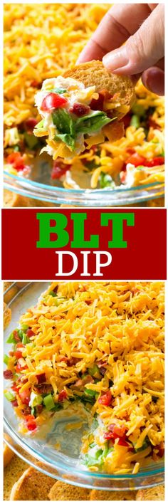 This BLT Dip is a no-bake appetizer with layers of cream cheese, tomatoes, green onions, bacon and cheddar cheese. This BLT Dip recipe is great for taking to a potluck or BBQ and tends to be the first thing to go. the-girl-who-ate-everything.com