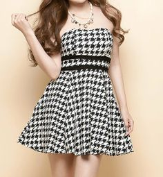 $9.11 Houndstooth Off-The-Shoulder Wrapped Chest Backless Slimming Dress For Women