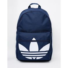 adidas Originals Classic Backpack (45 AUD) ❤ liked on Polyvore featuring men's fashion, men's bags, men's backpacks and blue