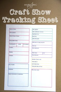Love this tracking sheet. Such a simple, effective way to record each show. Craft Show Tracking Sheet from Crafty Staci Craft Fair Displays, Craft Show Booths, Craft Show Ideas, Display Ideas, Displays For Craft Shows, Craft Stall Display, Craft Show Table, Craft Fair Table, Fall Craft Fairs