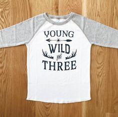 Young Wild & THREE Boys Birthday Tee 3RD Birthday Baseball Tee