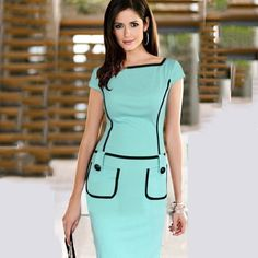 New Arrival 2015 Contrast Color Patchwork Bodycon Dress with Pocket Green Sexy OL Work Wear Casual Business Dress Pencil Dress