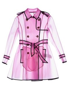 I am tired of raincoats that are only water resistant, nor waterproof.  This coat is just plastic so it's definitely waterproof.  REDValentino : RED VALENTINO - sheer rain trench coat | Sumally