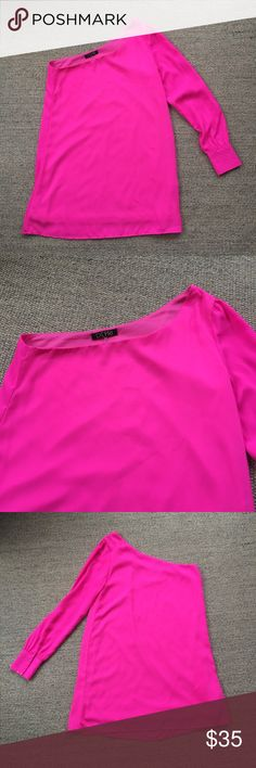 Depri Neon Pink One Shoulder Chiffon Tunic S Gently worn condition. No known piling, tears or stains. There used to be a big jewel piece along the sleeve cuff that I ripped off, so there's some glue still stuck on that I couldn't get off as seen in last photo. Not noticeable when wearing. 100% Polyester. 🐾 Pet-friendly, smoke-free home. . 🚫 No trades. No holds. 📦 Fast shipping! 🙋🏻 Considering all reasonable offers! Depri Tops Tunics